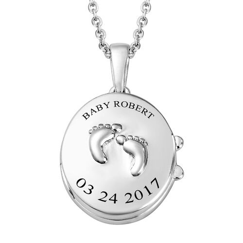Personalise Engraved Name and Date Baby Feet Locket