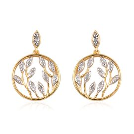 Diamond Circle Leaves Drop Earrings in Platinum and Gold Plated Sterling Silver 5.66 Grams