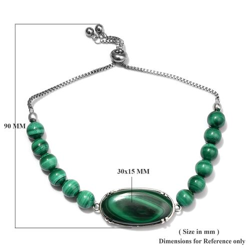 Malachite (Ovl 30x15 mm) Bead Bracelet (Size 6.5-9.5 Adjustable) in Stainless Steel 20.00 Ct.