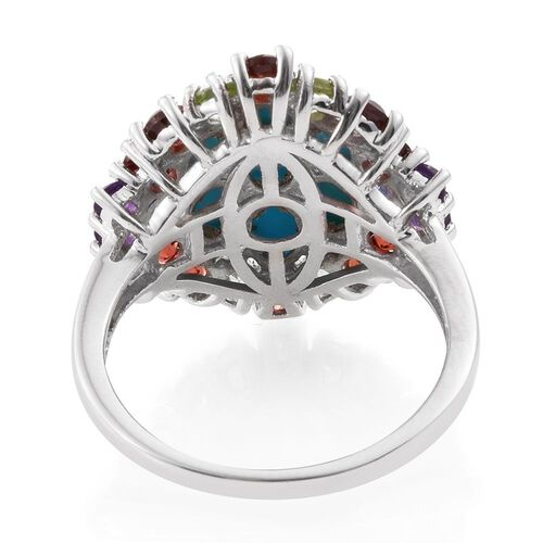 Arizona Sleeping Beauty Turquoise (Ovl), Tanzanite, Mozambique Garnet, Hebei Peridot, Amethyst and White Topaz Ring in Platinum Overlay Sterling Silver 6.250 Ct. Silver wt 5.30 Gms.