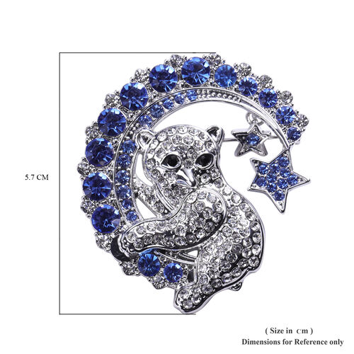 White Austrian Crystal Enamelled Squirrell Brooch in Silver Tone
