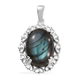 Labradorite (Ovl 16x12 mm) Pendant in Sterling Silver 11.00 Ct.