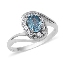 Blue and White Zircon Halo Ring in Rhodium Plated Sterling Silver