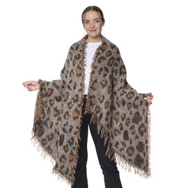 Winter Christmas Special- Designer Inspired Leopard Print Scarf (Size 220x60cm) - Khaki and Black