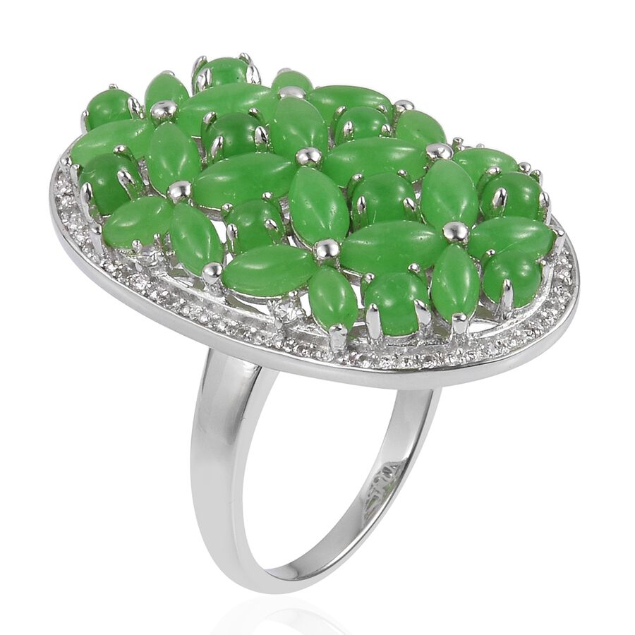 f4af74abc 925 Sterling Silver Green Jade, White Zircon Fashion Flower Ring Size L,  9.42ct