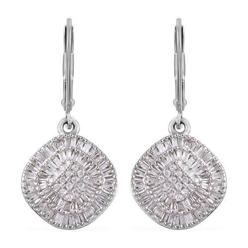 9K White Gold SGL Certified Diamond (Bgt) (I3/G-H) Lever Back Earrings 0.75 Ct.