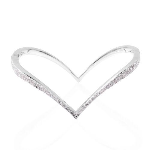 Isabella Liu Twilight Collection Zircon Heart Bangle in Rhodium Plated Silver 7 Inch