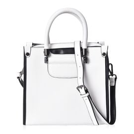 100% Genuine Leather White and Black Colour Tote Bag (Size 24x11.5x22 Cm) with Detachable Shoulder S
