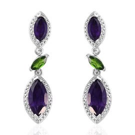4.5 Ct Amethyst, Russian Diopside and Diamond Drop Earrings in Sterling Silver