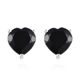 8.25 Ct Boi Ploi Black Spinel Heart Solitaire Stud Earrings with Push Back in Silver