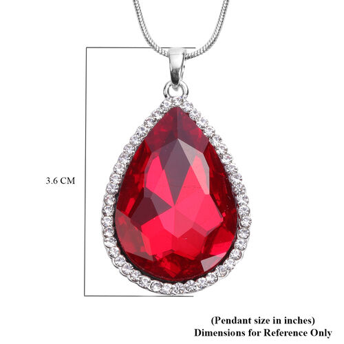 3 Piece Set - Simulated Ruby, White Austrian Crystal Pendant with Chain (Size 24 with 3 inch Extender) in Silver Tone & Fuchsia with Multi Colour Scarf (Size 50x50cm) in Gift Box