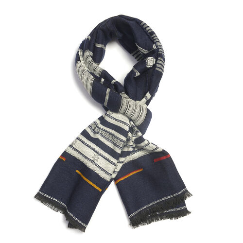 Blue and Grey Colour Scarf (Size 185x70 Cm)