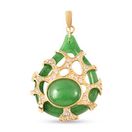 Green Jade and Natural Cambodian White Zircon Pendant in Yellow Gold Overlay Sterling Silver 14.250