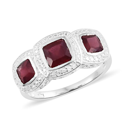 African Ruby (Cush 1.50 Ct) 3 Stone Ring in Sterling Silver 3.250 Ct.