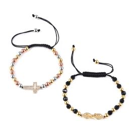 Set of 2 - Simulated Diamond and Black Colour Beads Bracelet (Size 6.5-9 Adustable) in Tritone