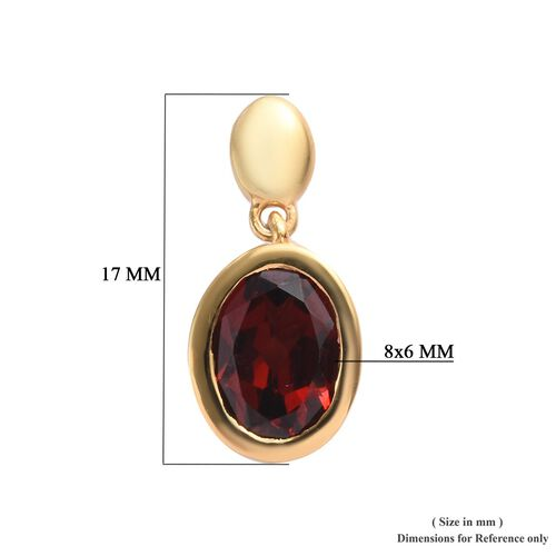 Mozambique Garnet (Ovl 8x6mm) Drop Earrings (with Push Back) in 14K Gold Overlay Sterling Silver 2.50 Ct.