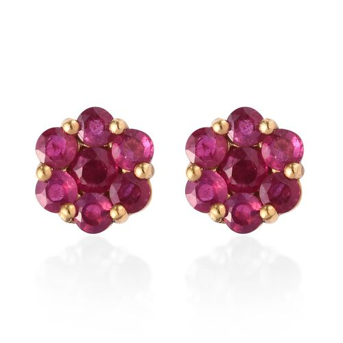 African Ruby (Rnd ) Pressure Set Floral Stud Earrings (with Push Back) in 14K Gold Overlay Sterling