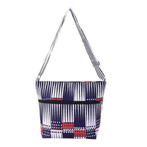 Canvas Crossbody Bag in Multi Colour with Adjustable Shoulder Strap