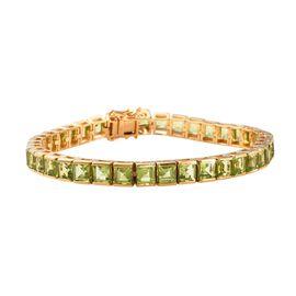 Hebei Peridot (Sqr) Bracelet (Size 8.0) in 14K Gold Overlay Sterling Silver 24.00 Ct, Silver wt 21.0