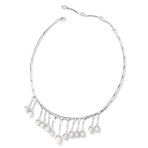 LucyQ Fresh Water White Pearl (Pear) Drip Necklace (Size 16 and 4 inch Extender) in Rhodium Overlay Sterling Silver. Silver wt 36.00 Gms.