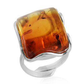 Baltic Amber Adjustable Solitaire Ring in Sterling Silver 6.50 Grams