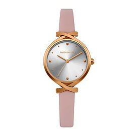 Karen Millen Rose Gold Tone Watch with Pink Leather Strap