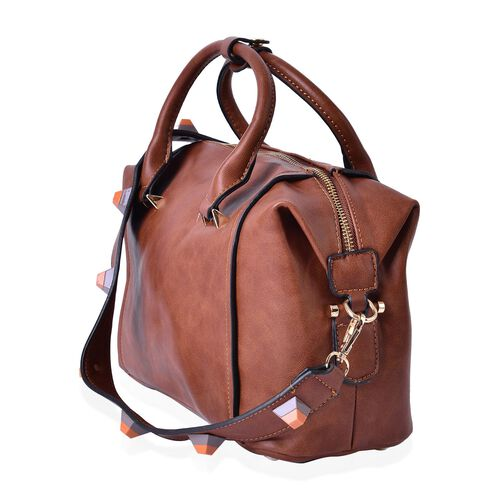 Mayfair Classic Chocolate Carryall Bag with Removable Geometric Studs Shoulder Strap (Size 29x21.5x11 Cm)