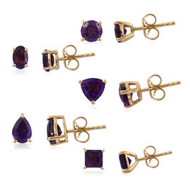 Set of 5 - Amethyst Stud Earrings (with Push Back) in 14K Gold Overlay Sterling Silver 5.750 Ct.
