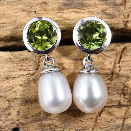 Fresh Water Pearl (0.40 Ct),Chinese Peridot Platinum Overlay Sterling Silver Earring  6.500  Ct.