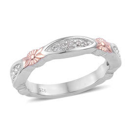 Natural Cambodian Zircon (Rnd) Band Ring in Platinum and Rose Gold Overlay Sterling Silver