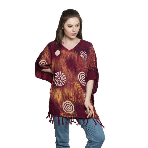 Designer V Neck Red, Maroon and Multi Colour Poncho/Beach Cover Up with Tassels (Free Size)
