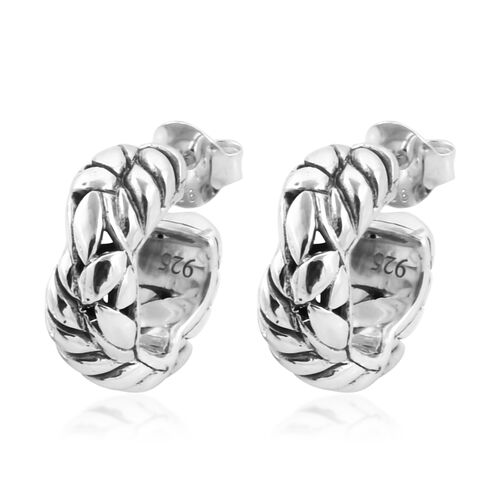 Bali Legacy Collection Sterling Silver Half Hoop Earrings, Silver wt 6.92 Gms.