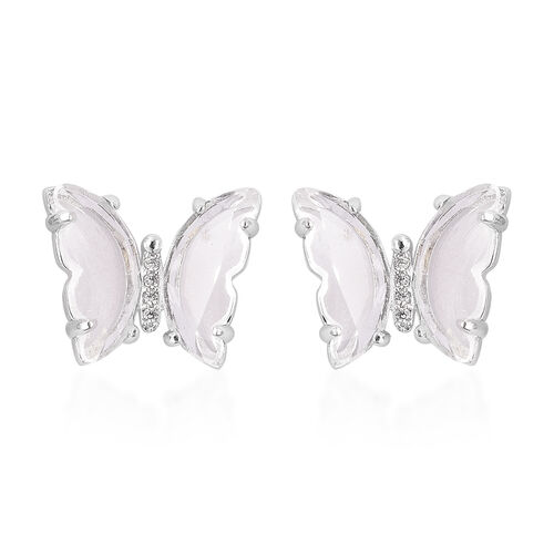 Simulated Diamond Butterfly Earrings (with Push Back) in Rhodium Overlay Sterling Silver
