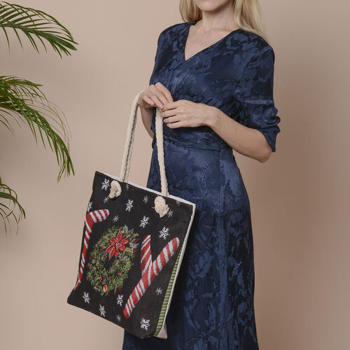 Christmas Collection JOY Print Jute Tote Bag (Size 42x34x9x37cm) - Black