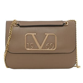 19V69 ITALIA by Alessandro Versace Shoulder Bag with Magnetic Closure (Size 24x15.5x6Cm) - Dark Beige