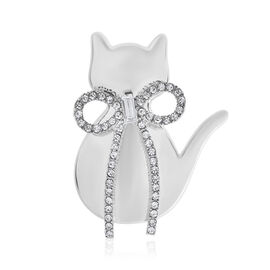 Designer Insipired Simulated Diamond and White Austrian Crystal Magnetic Cat Brooch in Silver Tone