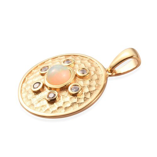 AA Ethiopian Welo Opal and Natural Cambodian Zircon Pendant in 14K Gold Overlay Sterling Silver 1.00 Ct.