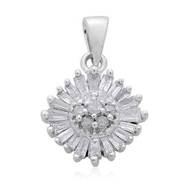 9K White Gold SGL Certified (G to H colour and I3 Clarity) Diamond (Rnd) Snowflake Pendant 0.330 Ct.