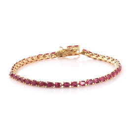 African Ruby (Ovl) Tennis Bracelet (Size 7.5) in 14K Gold Overlay Sterling Silver 10.000 Ct., Silver wt: 7.50 Gms.