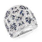 Kanchanaburi Blue Sapphire (Rnd), Diamond Cluster Ring (Size N) in Platinum Overlay Sterling Silver 2.500 Ct,
