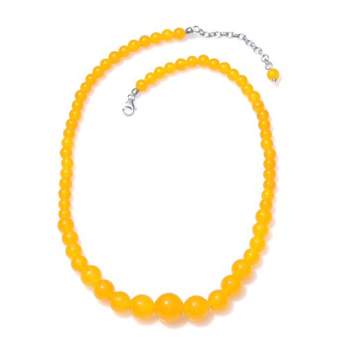 Yellow Quartzite Graduated Necklace (Size 18 with 2 inch Extender) and Hook Earrings in Platinum Overlay Sterling Silver 200.000 Ct. Silver wt. 3.85 Gms.