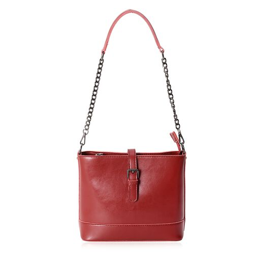 Close Out Deal 100% Genuine Leather Burgundy Colour Bag with External Zipper Pocket and Removable Shoulder Strap (Size 23x20.5x10.5 Cm)