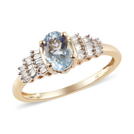 9K Yellow Gold AA Espirito Santo Aquamarine (Ovl 7x5 mm), Diamond Ballerina Ring 0.65 Ct.