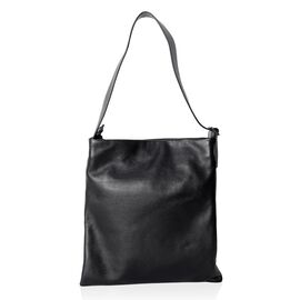 Premium Collection Super Soft 100% Genuine Leather Black Colour Tote Bag with Adjustable Shoulder St