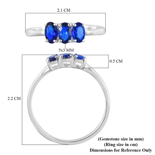 Tanzanian Blue Spinel Three Stone Ring in Sterling Silver 1.00 Ct.