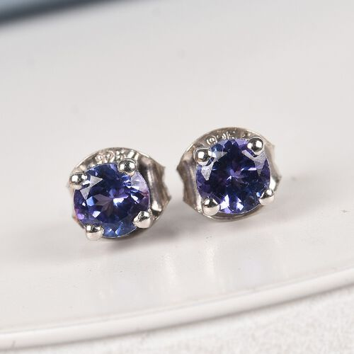 Tanzanite Earrings (with Push Back) in Platinum Overlay Sterling Silver