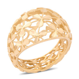 Italian Made - 9K Yellow Gold Designer Filigree Ring