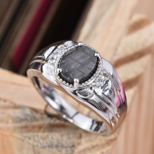 Tucson Special - Meteorite (Ovl 9x7mm), Natural Cambodian Zircon Ring in Platinum Overlay Sterling Silver 4.87 Ct, Silver wt 6.88 Gms