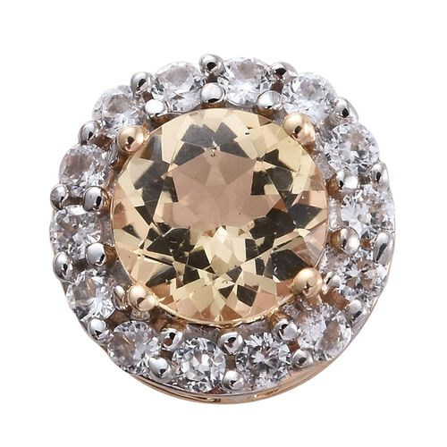 Limited Edition- 9K Yellow Gold AAA Imperial Topaz (Rnd 1.00 Ct), Natural Cambodian Zircon Pendant 1.250 Ct.