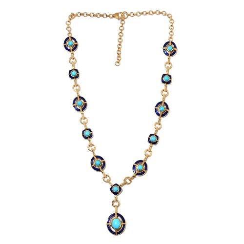 AA Arizona Sleeping Beauty Turquoise Enamelled Necklace (Size 18 with 2 inch Extender) in 14K Gold Overlay Sterling Silver 8.25 Ct, Silver wt 28.69 Gms
